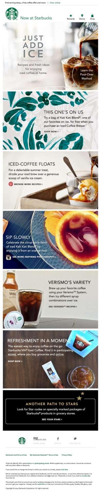 Starbucks Email Newsletter